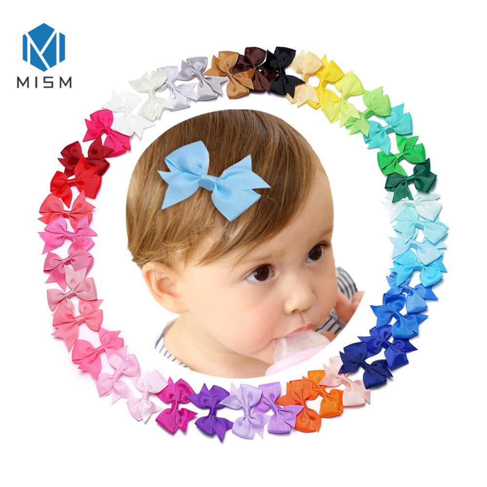 M MISM 40pcs 2.5*2 Inch Kids Ribbon Hair Bows Clips Girls Birthday Party Sweet Tiny Bowknot Hair Ties Barrettes Hair Accessories