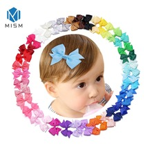 M MISM 40pcs 2.5*2 inch Kids Ribbon Hair Bows Clips Girls Birthday Party Sweet Tiny Bowknot Ties Barrettes Accessories