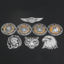 BAC Brotherhood Autoclub Tiger 1865 Lion Eagle Head Protect Me Round Aluminium Totem Badge Emblem Labeling Sticker Car Styling