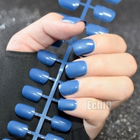 Candy Blue Squoval Nail Art Tips OL Must Artificial Ladies Nail Tips 24pcs/kit Easily DIY for daily wear P521