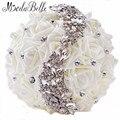 2016 Swarovski Cristal Bouquets De Casamento Da Dama de Honra Frisada Buques Artificial Casamento Strass Buquê de Flores Da Noiva