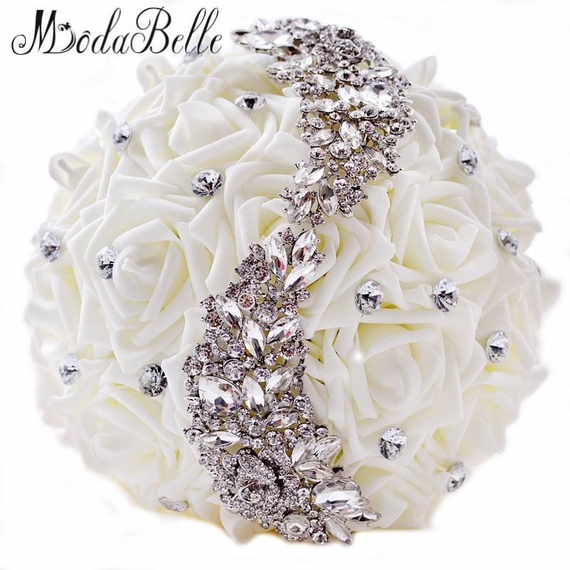 buy 2016 swarovski crystal wedding bouquets beaded bridesmaid buques artificial. Black Bedroom Furniture Sets. Home Design Ideas