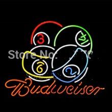 2017 Caliente Budweiser letrero de neón Bola Juego de Billar Sala de Billar reales Tubo de vidrio de neón signo de encargo muestra de neón luces de lámparas de neón 24×24 VD