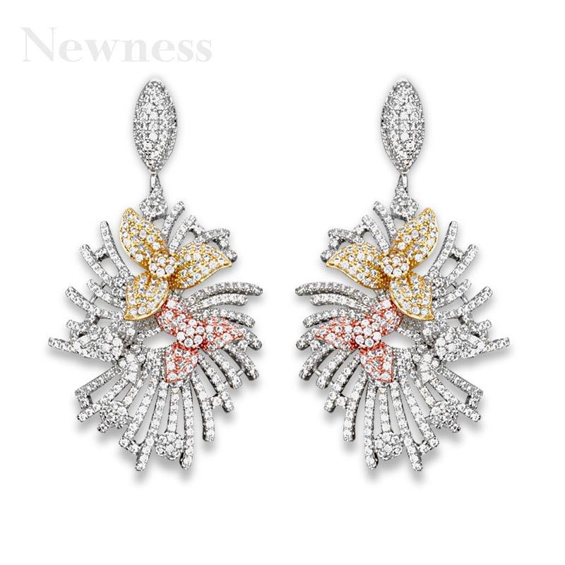 Newness 50mm Full Micro Paved Cubic Zircon luxury Flower Line Wheel Women Wedding Paty Earring Fashion Jewelry