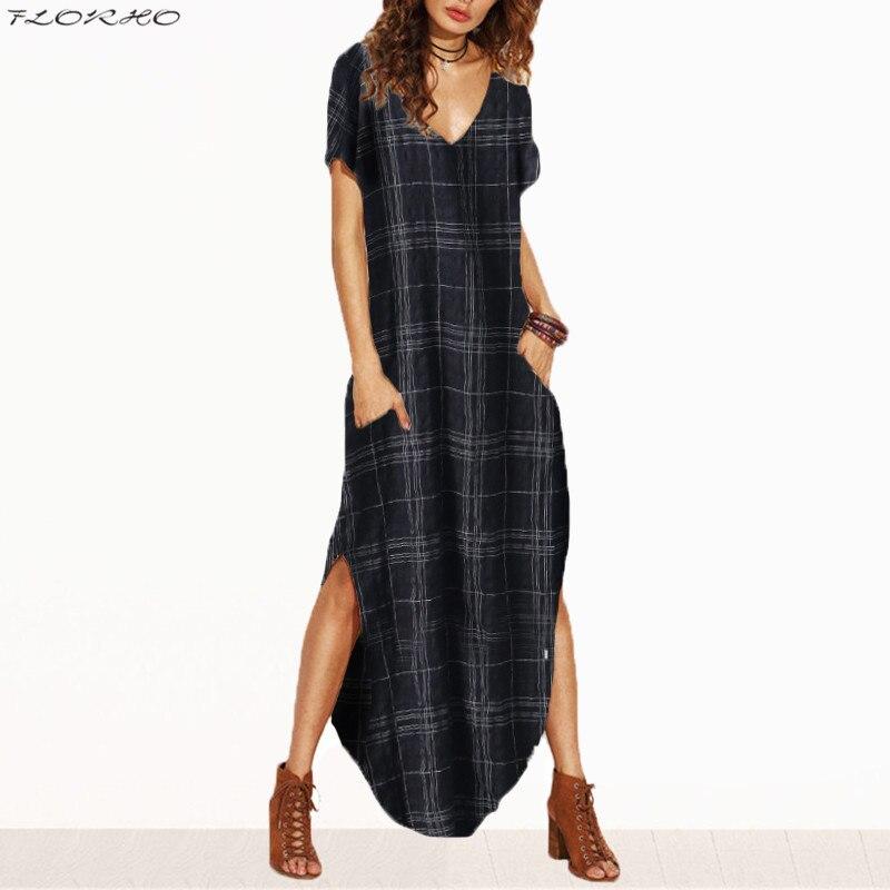2018 Summer Women Dresses Tie Dye Print Side Split Loose Long Dress Curved Hem V Neck Short Sleeve Maxi Dress Vestidos Size 5XL