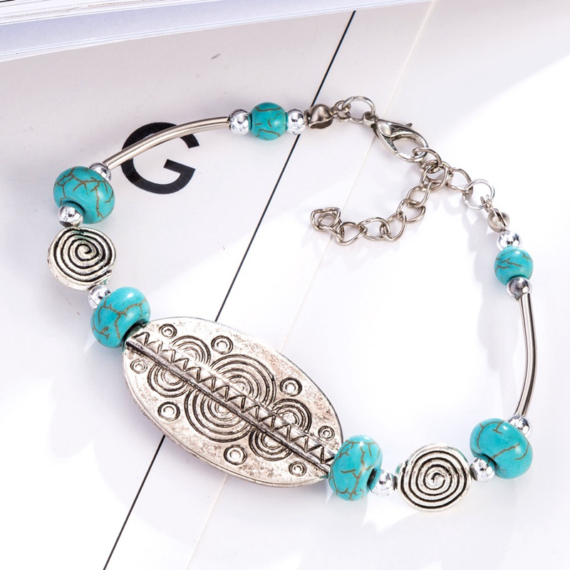 Bohopan Ethnic Style Silver Color Bracelets Bangles Green Natural Stone Bracelets For Women Adjustable Chain Jewelry Accessories in Charm Bracelets from Jewelry Accessories