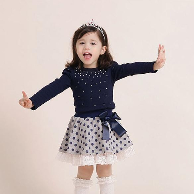 2016 girls set cotton long-sleeved dot girls clothing t shirt+skirt suit girls princess dress Children's Sets free shipping