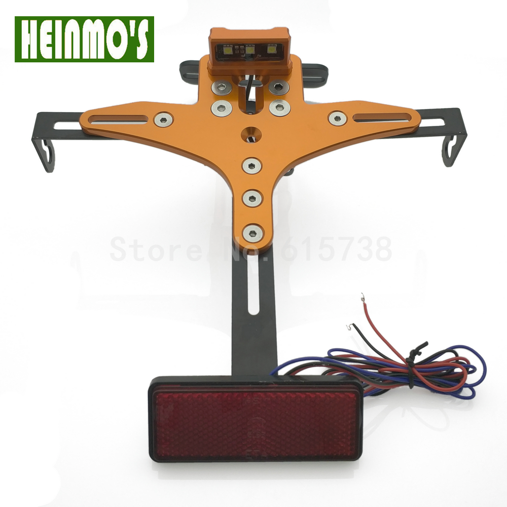 Motorcycle license plate light Led tail font b lamp b font frame Number Holder Mount Bracket