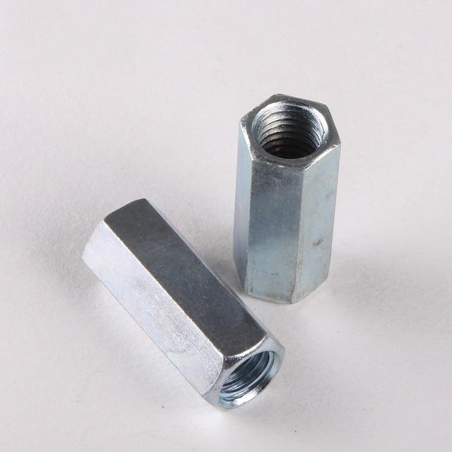 2PCS Galvanized hex nut screw coupling nut lengthened nut M8 *30