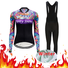 Women 2020 Winter Thermal Fleece Cycling Jersey Bib Pants Set Road Bike Clothing Dress Kit Bicycle Clothes Suit Bodysuit Outfit