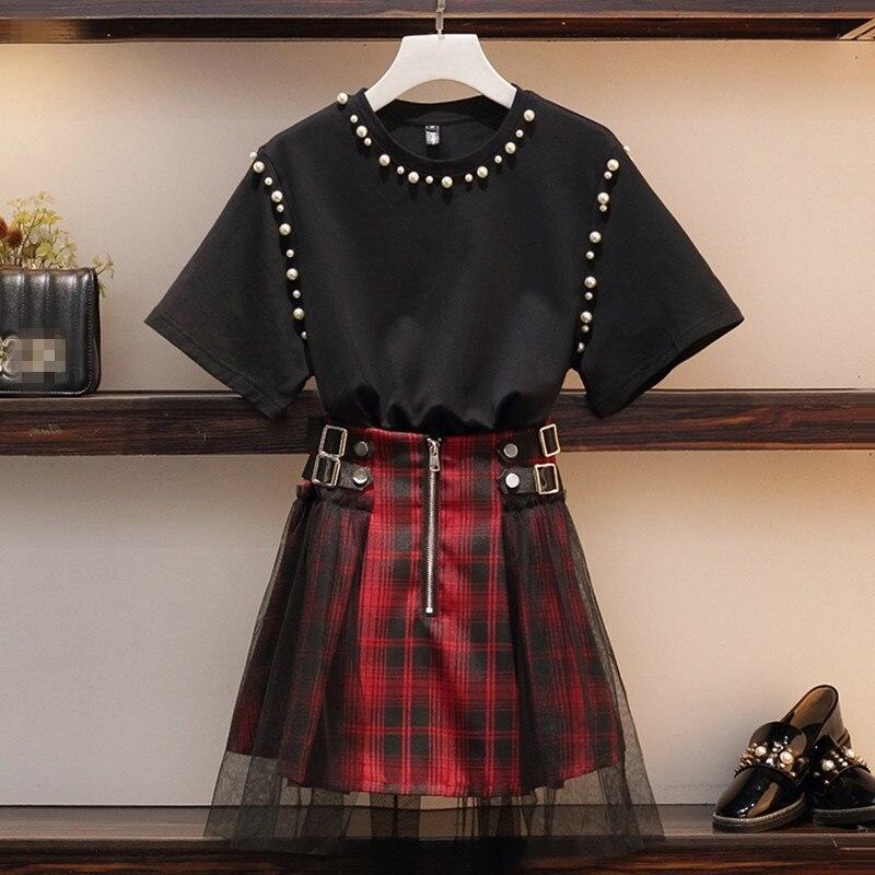 Retro Punk Mesh Lattice Skirt 2 Piece Set Woman 2019 Summer New Pearl Beaded Black T-shirt + Skirt Casual SetsPlus Size S-4XL