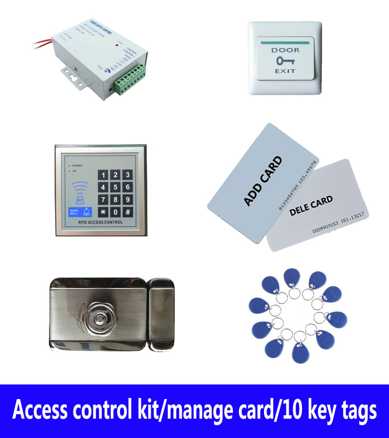access control kit,standalone access control +power+ inteligent mute lock+ exit button+2 manage card,10 keyfob ID tags,sn:set-9 free ship by dhl access control kit waterproof access control switch power electric mute lock exit button 10 em cards sn em t10