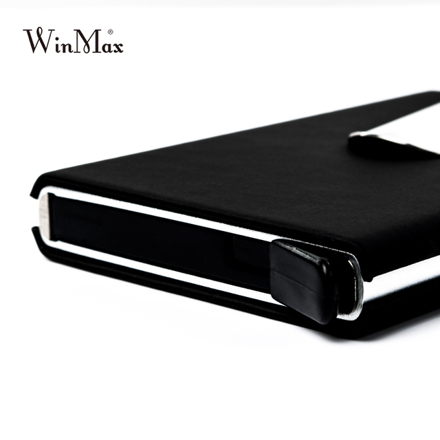 Winmax Brand Black Quality Credit Card Holder Waterproof Cash Money Pocket Box Aluminum Business Men ID Card Holder Gifts Wallet