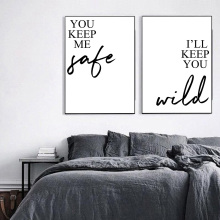 You Keep Me Safe Quotes Posters And Prints Black White Canvas Painting Wall Picture For Living Room Unframed