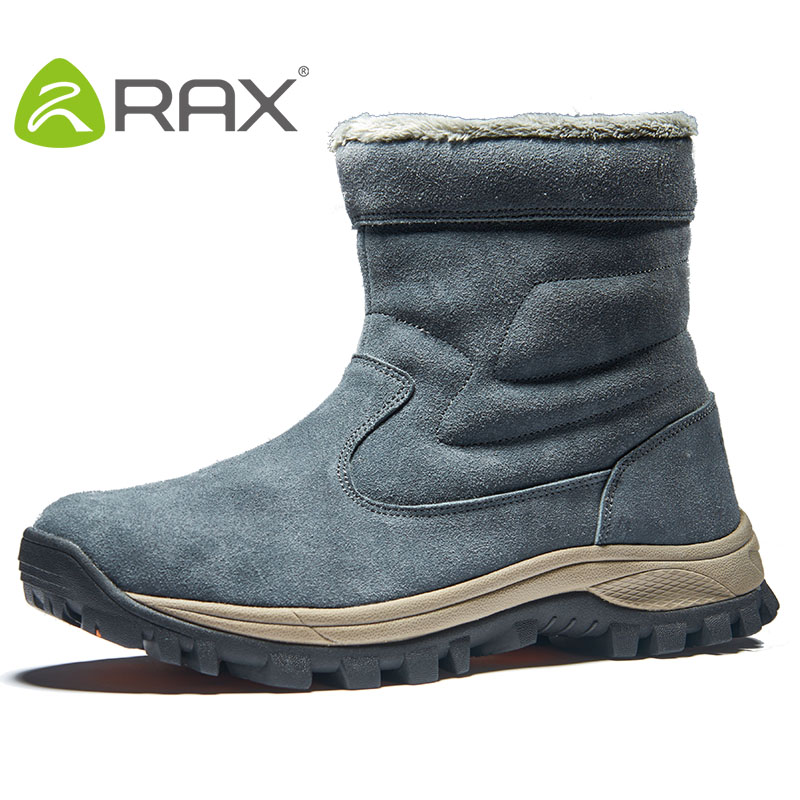 RAX Men's Waterproof Winter Hiking Boots Leather Snow Boots With Fur Warm Cushioning Outdoor Antislip Hiking Shoes For Men 443 waterproof men outdoor hiking boots autumn winter hunting boots mountain climbing men trekking shoes warm fur snow boots male