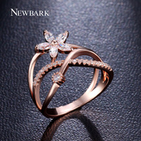 NEWBARK Delicate Flower Finger Ring 18k Rose Gold And White Gold Plated Paved Tiny Zirconia Diamond