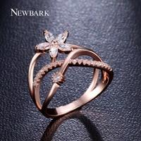 NEWBARK Delicate Flower Finger Ring 18k Rose Gold And White Gold Plated Paved Tiny Zirconia Diamond