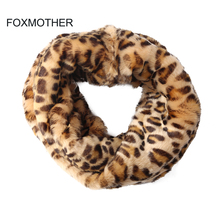 FOXMOTHER 2019 New Brand Outdoor Winter Fashion Brown Faux Fur Leopard Scarf Snood Neck Warmer Scarves Ladies