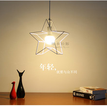 Modern Minimalist Star Mini Cage Pendant Lights Vintage Rustic Iron Metal Hanging Lamp for Living Room Kitchen black/white lamps