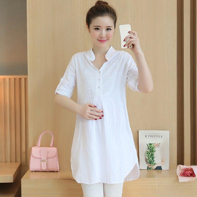 Okaymom Korean Maternity Blouse Shirt Pregnancy Wear Long Tops Tees