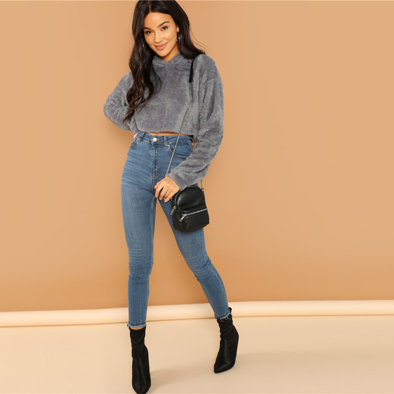 SHEIN Grey Minimalist Solid Drop Shoulder Crop Teddy Hoodie Sweatshirt Autumn Casual Fashion Women Pullovers Sweatshirts 9