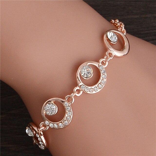 Trendy Summer New Fashion Hot Round Crystal Jewelry charm bracelet & Bangles anklet for women Gold bracelets for women
