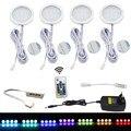 AIBOO LED bajo luz del Gabinete de disco Kit de luz de Control remoto RF RGB regulable Cabint lámpara para cocina estante de luces 4 paquetes