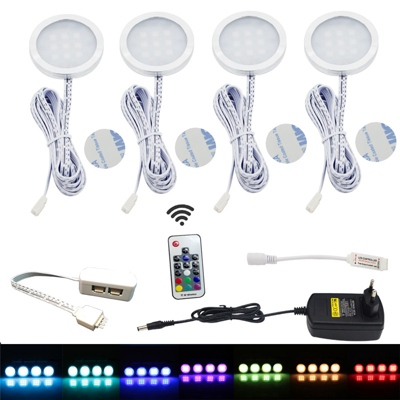 AIBOO LED Under Cabinet Light Puck Light Kit RF Remote Control Dimmable RGB Cabint Lamp for Kitchen Counter Shelf Lights 4 Packs(China)