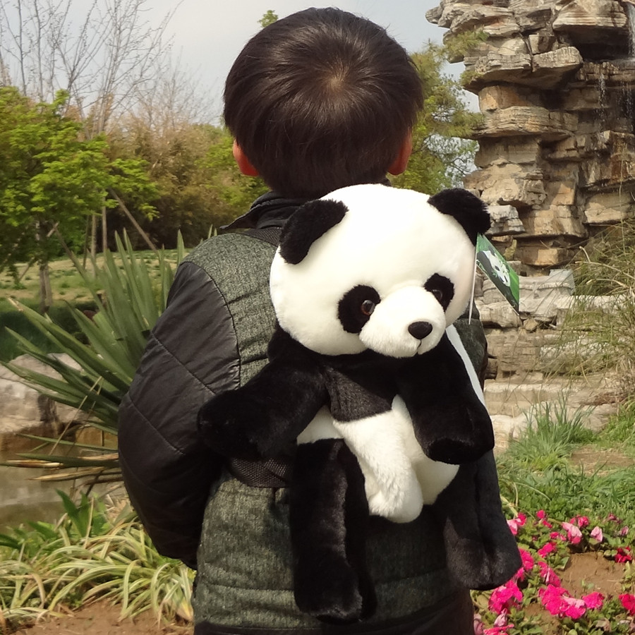 Candice Guo! Cute Cartoon Plush Toy Backpacks Simulation Panda Doll Baby Candy Bags Children Birthday Gift 1pc