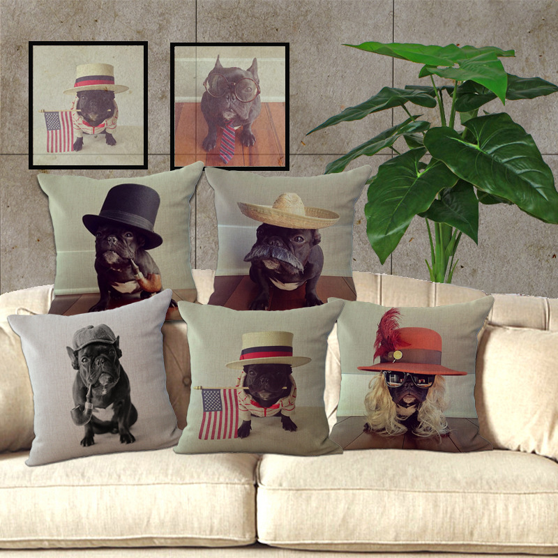 Wholesale 100% New European Style Adorable French Bulldog Dog Series Throw Pillow Cushion For Home Decor A1034
