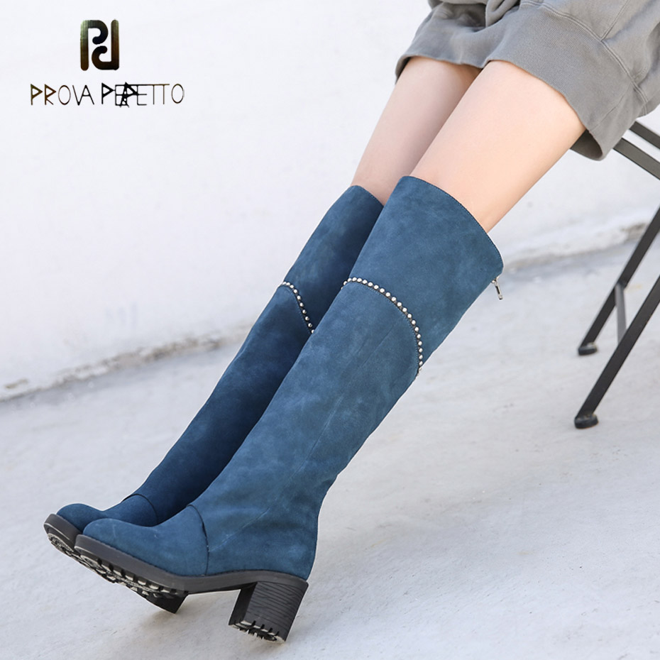 где купить Prova Perfetto women rivet bead motorcycle boots women thigh high boots round toe chunky high heel blue suede over the knee boot по лучшей цене