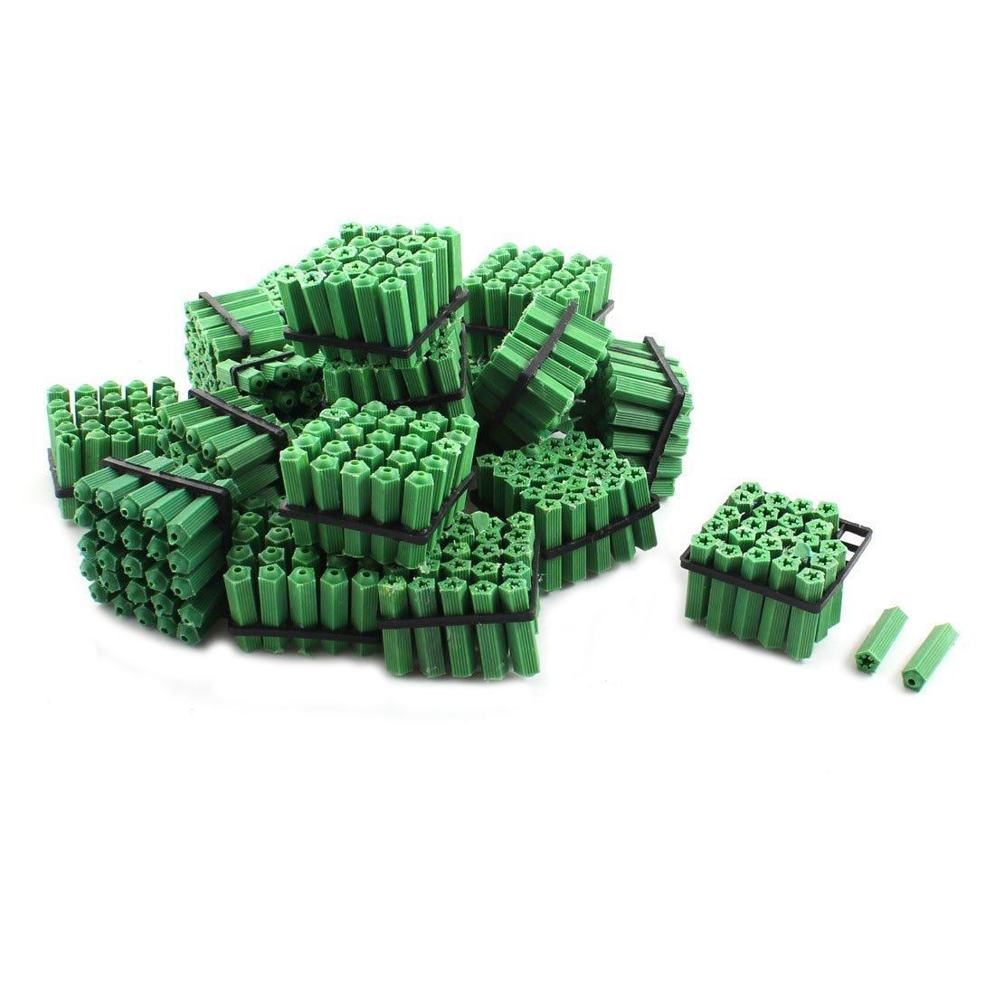 500 Pcs Green Masonry Screw Fixing Wall Anchor Plugs Wall Drywall Plastic Anchor Plastic Wall Plug Masonry Drill Dry Wall Plugs