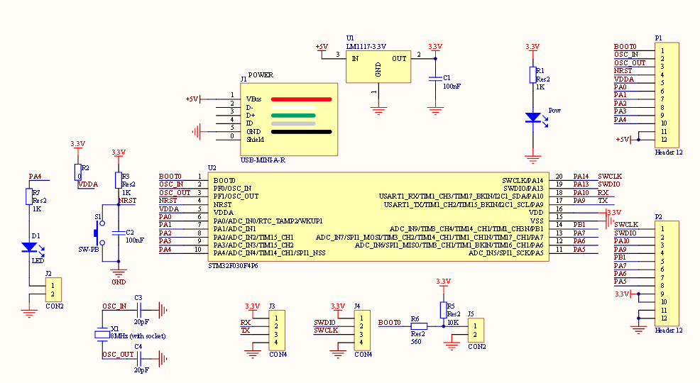 48 MHz STM32F030F4P6 Small Systems Development Board CORTEX-M0 Core 32bit Mini System Development Panels1