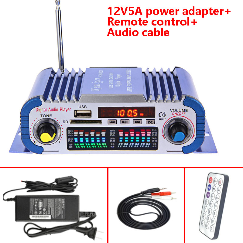With 12V5A Power Adapter+Audio Cable+IR Control Kentiger HY-601 Digital HI-FI Auto Car Stereo Power Amplifier USB SD Player Dac