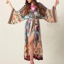 Kimono Robe Womens Beach Blouses Loose Kimono Open Front Floral Print Cardigan Beachwear Dress