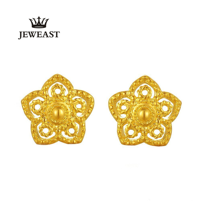 24k Pure Gold Petal Shape Stud Earrings Hollow Design Court Style Retro Elegance Graceful A