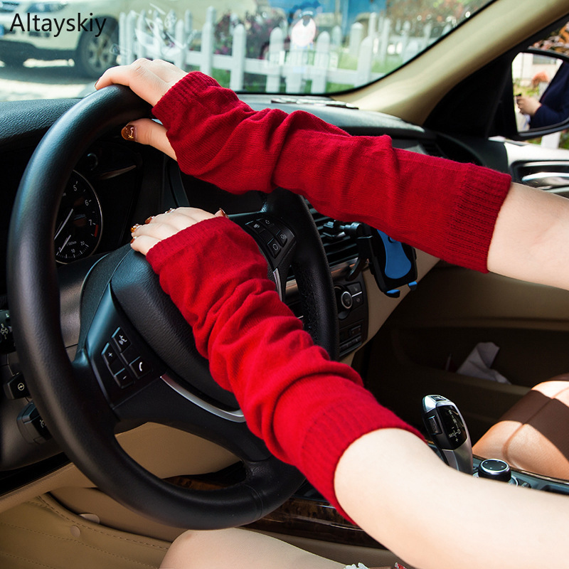 Arm Warmers Women 2019  Long Sleeve Colorful Solid Simple Womens For Driving Outdoors Korean Style Knitting Ladies Elegant Chic