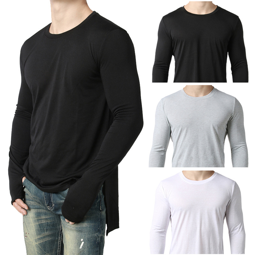 Mens Hip Hop T Shirt full Long Sleeve T-Shirt With Thumb Hole Cuffs Tees shirts Curve Hem Men Street Wear Tops Clothes For Male