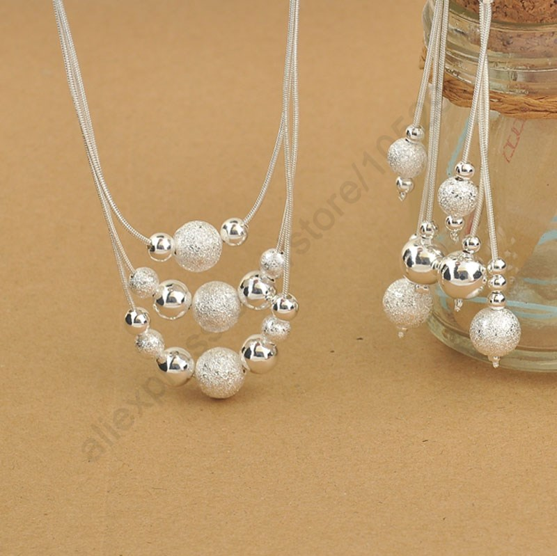 Elegant 925 Sterling Silver Woman Jewelry Set, Fashion 3 Layered With Charming Beads Balls Necklace Dangle Earrings