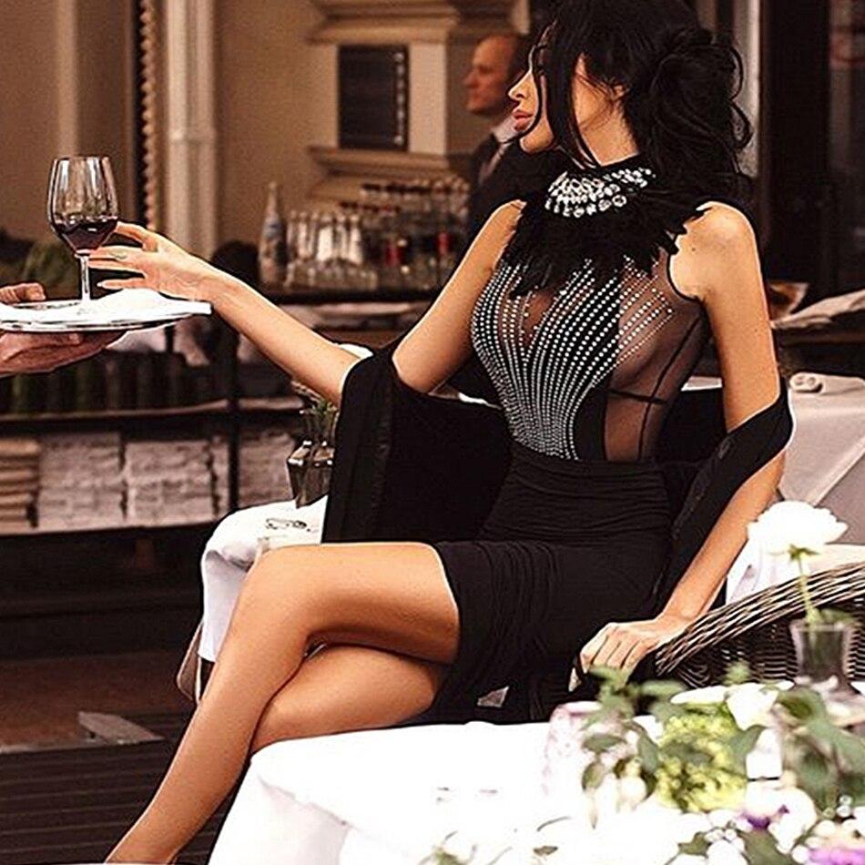 Nouvelle mode célébrité parti moulante Bandage robe femmes noir sans manches col roulé perles Sexy discothèque robe femmes Vestidos