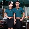 Hotel Uniform Summer Waitress Uniforms Restaurant Cafe Waiter Short Sleeved Shirt Tooling Work Clothes Overall J059