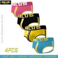 ORLVS 4PC/LOT Brand Men Underwear Sexy Jockstrap Penis Pouch Cotton Breathable Cueca Tanga Sexy Gay Bikini Male Panties Mesh