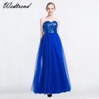 Wedtrend Cheap Blue Dress Party New Arrival Sweetheart Backless Sequin Tulle Evening Dresses Gowns abendkleider 2019