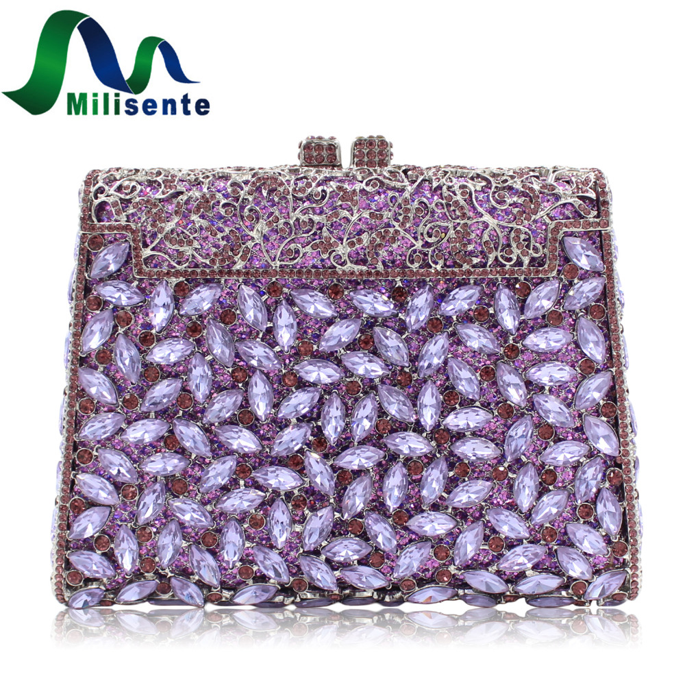 Milisente Women Wedding Clutch Bags Luxury Crystal Handbag Diamonds Party Clutches Fashion Purple Stones Purse free shipping a15 36 sky blue color fashion top crystal stones ring clutches bags for ladies nice party bag