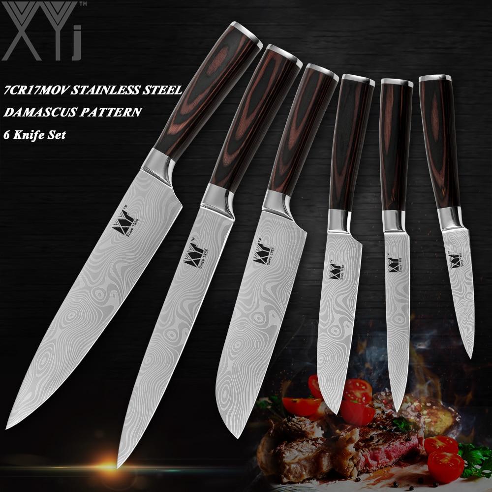 XYj Appena Stoned 6 pz Set di Coltelli Da Cucina Set In Acciaio Inox Paring Utility Santoku Chef Per Affettare Coltello Da Cucina Strumenti di Cottura