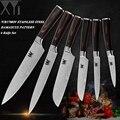 XYj juego recién drogado 6 piezas conjuntos conjunto de cuchillos de cocina de acero inoxidable de cocina de Santoku Chef de corte cuchillo de cocina herramientas de la cocina