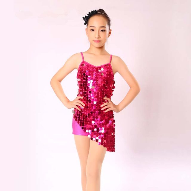 Hot New Sexy Girls Latin Dancing Performance Costume Shining Sequins Clothes W Leotard For Child