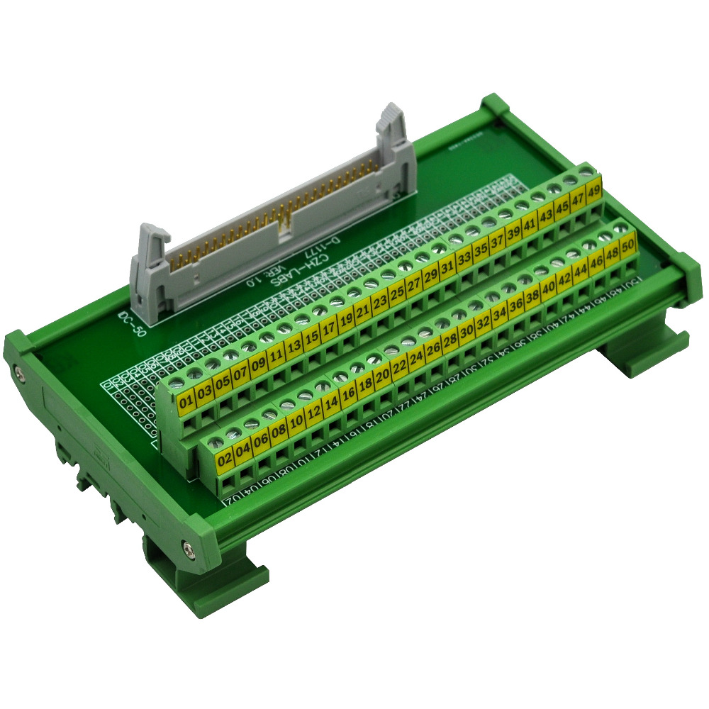 CZH-LABS DIN Rail Mount IDC-50 Male Header Connector Breakout Board Interface Module, IDC Pitch 0.1, Terminal Block Pitch 0.2 idc 50 din rail mounted interface module