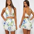2016 Sexy V Profundo Laço de Dois Set Impresso Jumpsuits Flor Moda Impresso Oco Out Bodysuit Mulheres Casual Praia Macacão C6041