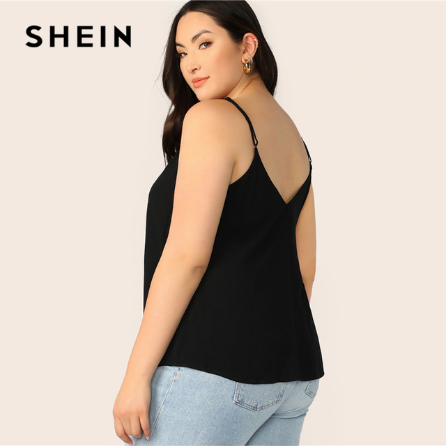 SHEIN Plus Size Black Solid V-Back Cami Top 2019 Women Summer Casual Spaghetti Strap Regular Basic Big Size Camisole Tops 2